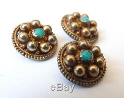 3 bouton boutons en OR massif + turquoise gold button ancien 19e siècle