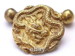 Anciens boutons manchette Chinois Dragon or 14k Antique Chinese cufflinks signed