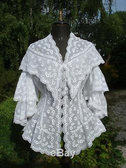 Corsage ancien NIII brodé antique embroidered victorian pagoda sleeve bodice