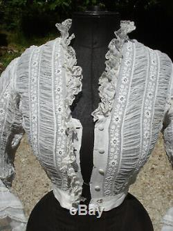 Corsage ancien mousseline brodée early victorian embroidered muslin bodice