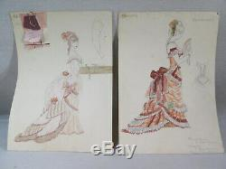 Ludwig Kainer Ancienne Paire Dessins Mode Robe Operette La Chauve Sourie Strauss